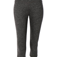 Womens High Rise Knee Length Yoga Capri Pants with Pocket