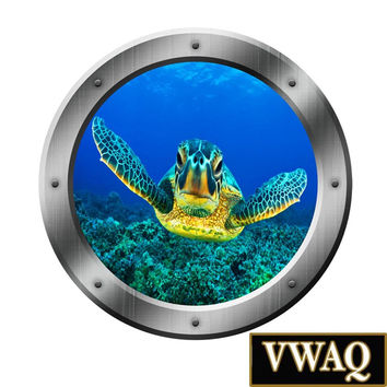 Porthole Wall Decal Ocean Portal Sea Turtle Art 3D Window Sticker Kids Room PO16