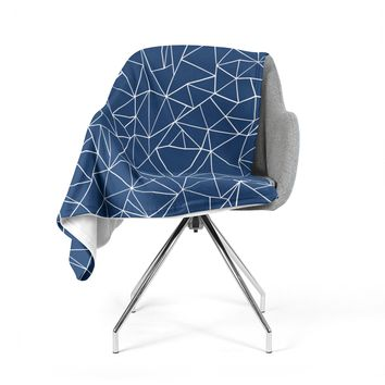 "Project M ""Abstraction Outline Navy"" Blue Abstract Fleece Throw Blanket"
