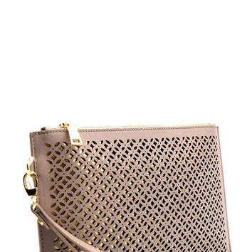 * Madison West Laser Cut Clutch : Taupe