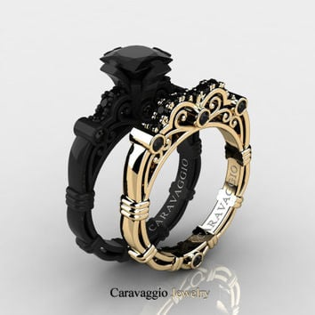 Caravaggio 14K Black and Yellow Gold 1.25 Ct Princess Black Diamond Engagement Ring Wedding Band Set R623PS-14KBYGBD