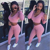 2016 Autumn Women bodycon jumpsuit pink women set tracksuits Long sleeve hooded bodysuit knitted kim kardashian fitted jumpsuits