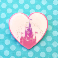 "Handmade ""Pink Castle Love"" Small World Inspired Heart Brooch"