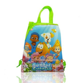 hot sale 1pcs Cartoon Bubble Guppies Children Drawstring Backpacks Kids party Gifts School Party Bags shopping bag 34*27cm