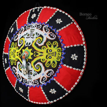 "Sun Hat 20.5"" Borneo Tribal Harvest Hat Indigenous Dayak Kenyah Beaded Woman Hat. Bead Work Panel with Cotton Patchwork.Red/Black/Shells"