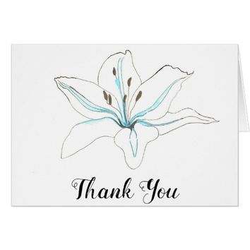 White Blue Flower Lilly Wedding Thank You Note Card