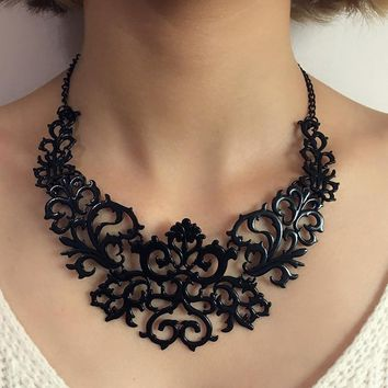 Tocona Trendy Hollow Out Heart Flower Shaped Chokers Necklace for Women Gold Silver Black Charms Collar Necklaces Jewelry 5514
