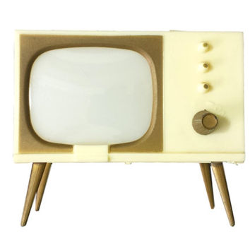 TV Salt and Pepper Vintage Shakers, 1950s Kitschy Kitchen Decor, Mid Century Cream Ivory Television S&P Shaker Set, Miniature Eames Era TV