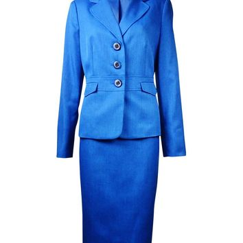 Le Suit Women's St. Tropaz Melange Skirt Suit