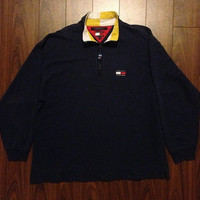 Vintage 90's Tommy Hilfiger Quarter Zip Sweater Size M Navy Blue