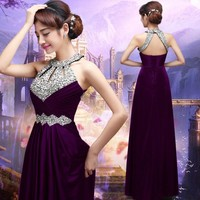 Beauty-Emily Long Cheap Prom Dresses 2017 Sexy Women Floor-length Formal Wedding Party Bridesmaid Prom Gown