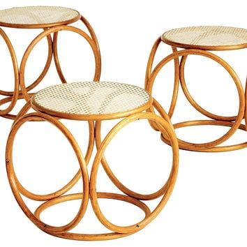 Bentwood & Cane Stools by Thonet, S/3