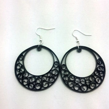 Paper Quilled Earrings Large Round Filigree - Black - paper quilled jewelry, paper quilling earrings, paper quilling jewelry, black earrings