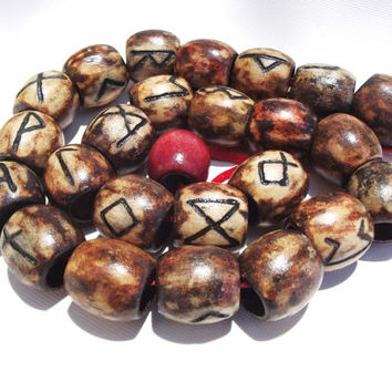 RUNE DREAD BEAD - Carved Wood - Choose Your Rune