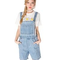 Blue  Overall Denim Shorts With Chest Pocket