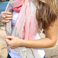 Think Pink Striped Scarf