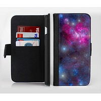 The Pink & Blue Galaxy Ink-Fuzed Leather Folding Wallet Credit-Card Case for the Apple iPhone 6/6s, 6/6s Plus, 5/5s and 5c