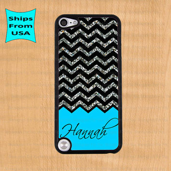Chevron Glitter Print Monogram iPod Touch 5 Case, iPod Cover, iTouch 4 Cases, iPod touch 4th generation Case(its NOT real Glitter)