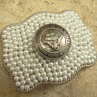 Navy Military Silver Pearl Belt Buckle , Western Armed Forces US Navy Belt, USN Navy Wife Girlfriend Mom Military Belt Buckle, Navy Wedding