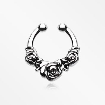 Rose Garden Icon Fake Septum Clip-On Ring