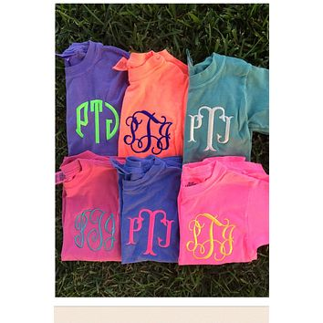 Kids Long Sleeve Comfort Colors Monogrammed T Shirt