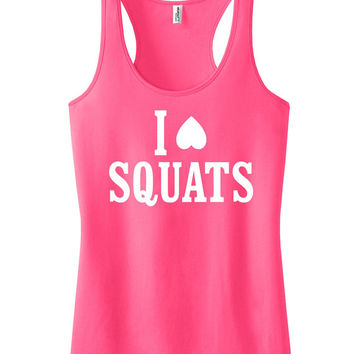 I love squats Racerback Crossfit Tank fitness Motivational Workout Tank Top Neon Pink IPW00005 WH