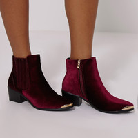 Roxey Burgundy Velvet Metal Toe Cap Boots - Boots - PrettylittleThing | PrettyLittleThing.com