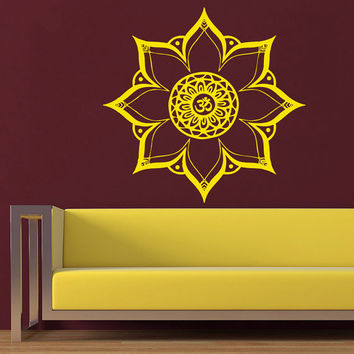 Mandala Wall Decal Ethnic Om Sign Yoga Studio Stickers Sun Flower Vinyl Decals Art Mural Home Interior Design Bedroom Bohemian Decor KI13