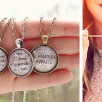 Travel Quote Necklaces in Bronze or Silver - 4 Styles!