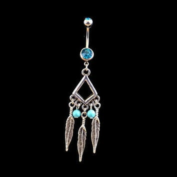 Feather Belly Ring on Tribal Setting Blue Rhinestones Turquoise Beads