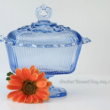 Vintage Indiana Ice Blue Covered Lace Edge Candy Dish