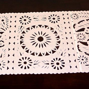 Papel picado Mexican table runner, Mexican theme party Decorations, Fiesta bridal shower decor, Peach table runner, TR20