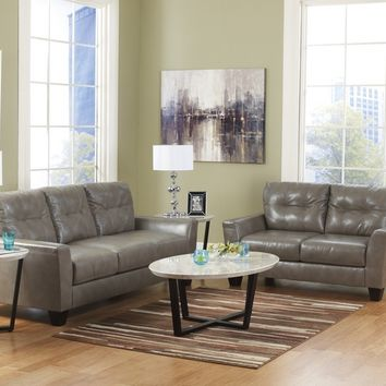 2 pc paulie collection quarry bonded leather upholstered sofa and love seat set with squared arms