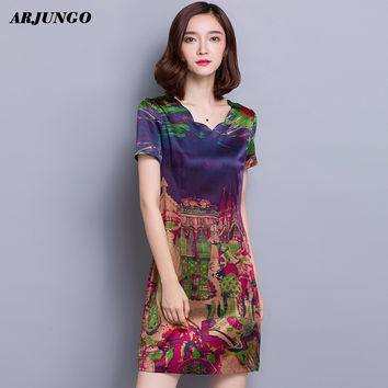 Arjungo Apparel print Vintage shirt dress New Fashion 2017 Spring Summer Women Dresses plus size Casual brand style Vestidos