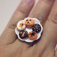 Kawaii Miniature Food Ring - Halloween Mini Donuts