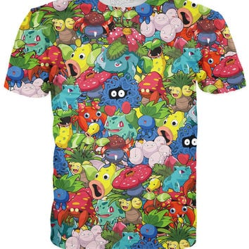 Original Grass Pokemon Collage T-Shirt