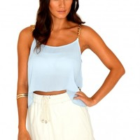 Missguided - Cherry Swing Crop Top With Chain Straps In Light Blue