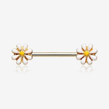 A Pair of Golden Spring Blossom Flower Nipple Barbell Ring