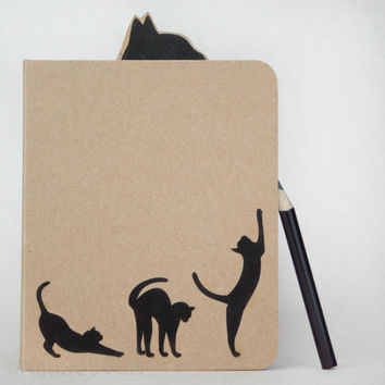 Cat Silhouette Notebook - Cute notebook, Cat gift, Eco friendly, Recycled paper, Journal, Notepad, Notebook journal, Animal lover gift