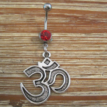 Belly Button Ring - Body Jewelry - Silver Om Symbol with Red Gem Stone Belly Button Ring