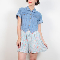 Vintage 90s Romper Denim Light Blue Floral Print 1990s Romper Chambray Soft Grunge Romper Playsuit Shortalls Shorts Jumper M Medium L Large