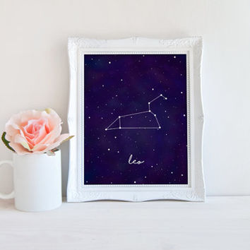 Leo Zodiac Constellation Horoscope Watercolor Printable Sign, Stars Night Sky, Printable Digital Wall Art Template, Instant Download, 8x10