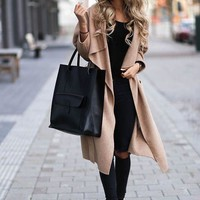 Fashion Long Section Wool Lapel Cardigan Jacket Coat