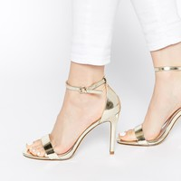 ALDO Paules Leather Gold Barely There Heeled Sandals