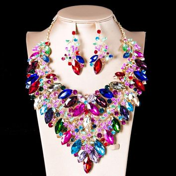 LAN PALACE bridal jewelry set nigerian glass set for women necklace and earrings for party  free shipping