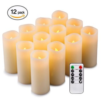 Enpornk Flameless Candles Battery Operated LED Pillar Real Wax Flickering Electric Unscented Candles with Remote Control Cycling 24 Hours Timer, Ivory Color, Set of 12