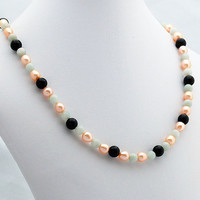 Chalcedony, Pearl & Onyx Necklace