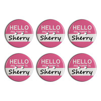 Sherry Hello My Name Is Plastic Resin Button Set of 6