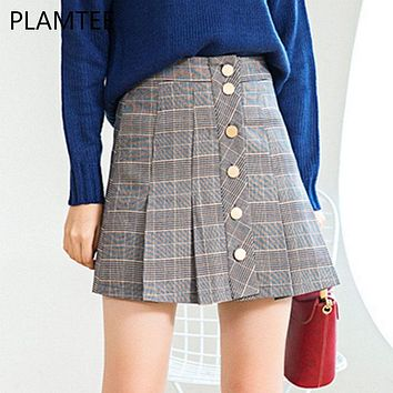 PLAMTEE Autumn Winter College Style A-Line Skirt Plaid Pleated High Waist Mini Skirt Japanese Preppy Girl Saia Button Up Rokken