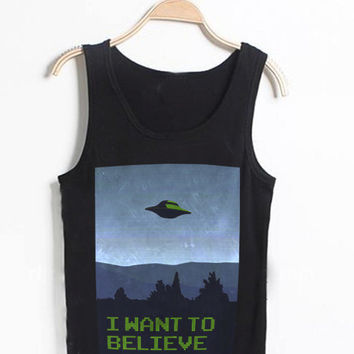 i want to believe  Casual Wear Sporty Cool Tank top Funny Tank Cute Direct to garment